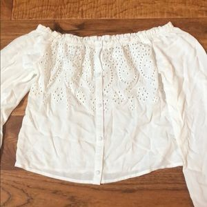 White off the shoulder button down top